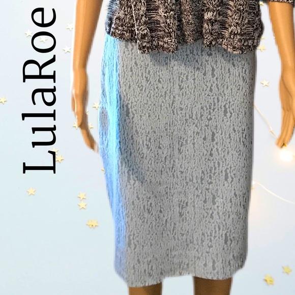 NWT LulaRoe powder blue Cassie skirt Sz L